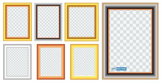 Set di modelli di cornice dorata realistici isolati o cornice in legno dorato stile retrò o foto d'oro vintage