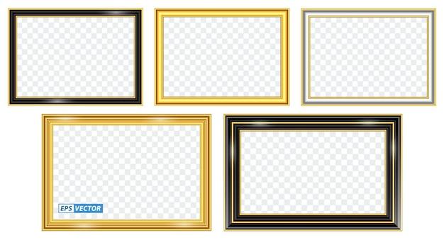 Set di modelli di cornice dorata realistici isolati o cornice in legno dorato stile retrò o foto d'oro vintage Vettore Premium