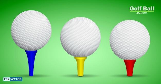 Set di pallina da golf realistica sul tee o vista frontale della pallina da golf o pallina da golf bianca dettagliata