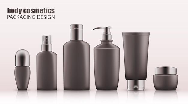Set di bottiglie grigie realistiche con tappo in argento per cosmetici per il corpo