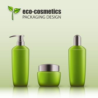 Set di bottiglie di vetro verde realistiche con tappo d'argento per eco-cosmetici