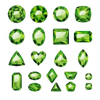 Set di gioielli verdi realistici. pietre preziose colorate. smeraldi verdi su sfondo bianco.