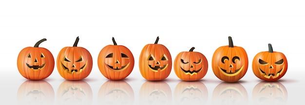 Insieme delle zucche arancioni di halloween realistiche, elementi per la celebrazione e l'arredamento di festa di halloween di autunno, isolato su fondo bianco. illustrazione.