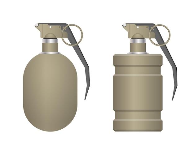 Set di granata a mano realistico isolato su priorità bassa bianca
