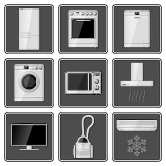 Set di elettrodomestici realistici. Vettore Premium