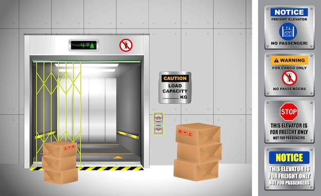 Set di ascensori industriali realistici