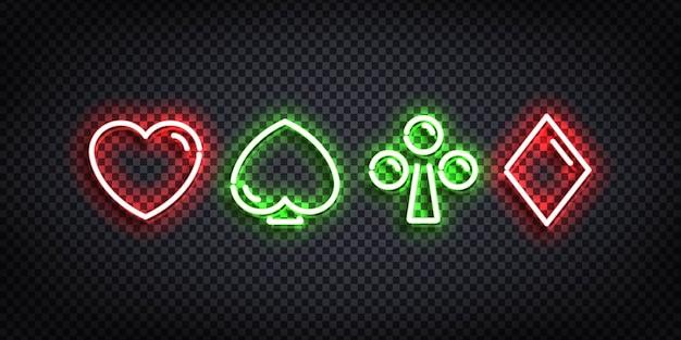 Set di segno al neon isolato realistico di card suit.
