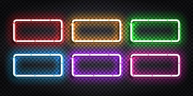 Set di cornice di segno al neon isolato realistico