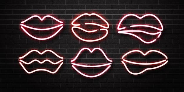 Insieme dell'insegna al neon isolata realistica del logo delle labbra su una parete.