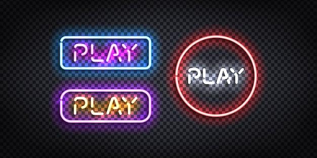 Set di segno al neon isolato realistico del pulsante play.