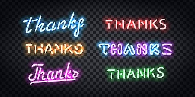Set di segno al neon isolato realistico del logo di tipografia grazie per la decorazione del modello e la copertura del layout sullo sfondo trasparente.