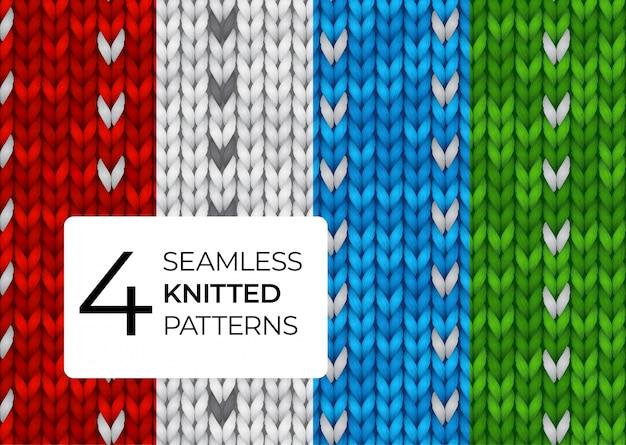 Una serie di modelli a maglia realistici. texture colorate a maglia senza cuciture per lo sfondo del sito, biglietti di auguri, sfondi, inviti, banner. illustrazione per uno sfondo scuro.