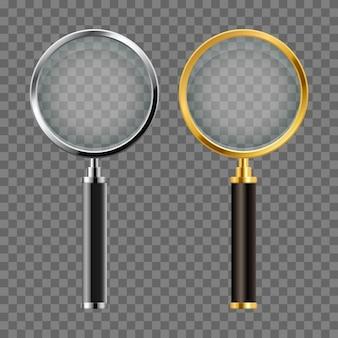 Set di disegno vettoriale lente di ingrandimento realistico