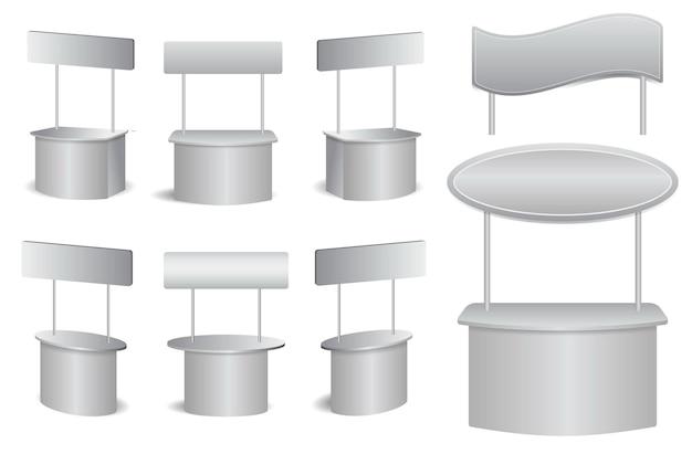 Set di rack di marketing realistico isolato o promozionale stand espositivo o stand stand desk