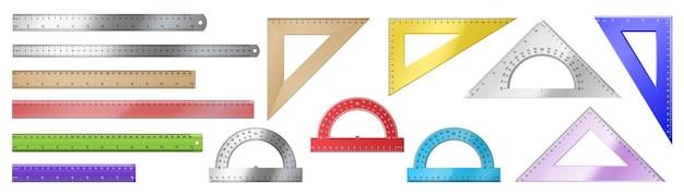 Set di strumenti di misurazione realistici: righelli triangolari, righelli semplici, goniometri su sfondo bianco. raccolta di materiale scolastico. illustrazione vettoriale 3d
