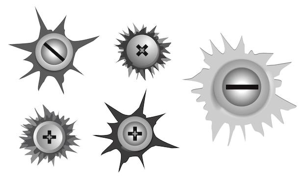 Set di viti metalliche realistiche in acciaio inossidabile facile da modificare