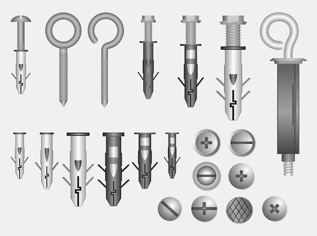 Set di viti metalliche realistiche in acciaio inossidabile vettoriale