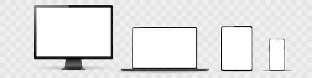 Set di monitor realistico, laptop, tablet, telefono su uno sfondo bianco