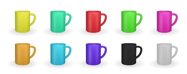 Set di tazze realistiche in vari colori isolati