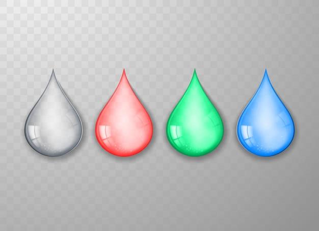 Set di gocce d'acqua multicolori realistiche isolate su sfondo trasparente