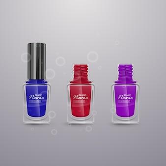 Set di smalti per unghie realistici di colori vivaci, illustrazioni 3d