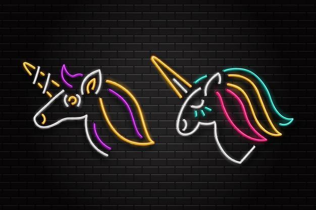 Set di segno retrò al neon realistico di unicorno per la decorazione e il rivestimento sullo sfondo della parete.