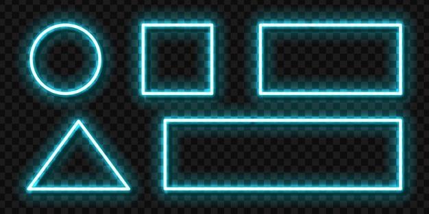 Set di segno al neon realistico di cornice blu per la decorazione dell'invito modello e la copertura promozionale di layout sullo sfondo trasparente.