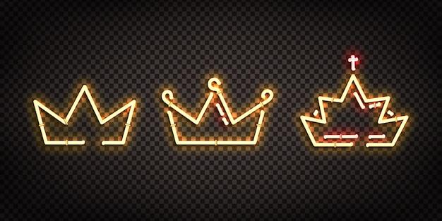 Set di segno al neon realistico del logo corona per la decorazione e la copertura sullo sfondo trasparente.
