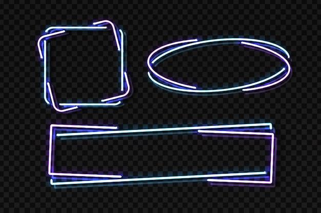 Set di segno al neon realistico del telaio per la decorazione e la copertura sullo sfondo trasparente. concetto di cartello, night club e ristorante.