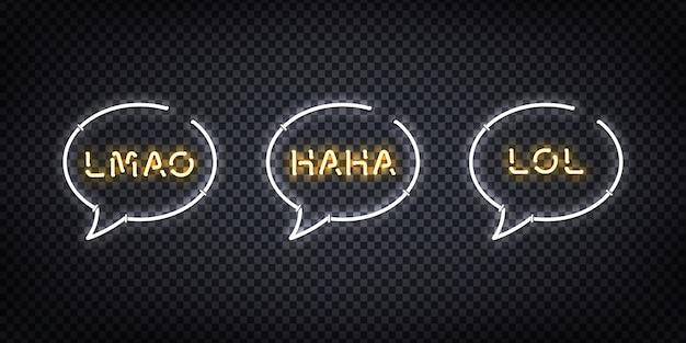 Set di segno al neon realistico del logo lol, haha, lmao per la decorazione e la copertura sullo sfondo trasparente. concetto di social media e risate.