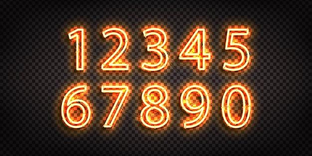 Set di segno al neon realistico del logo di numeri
