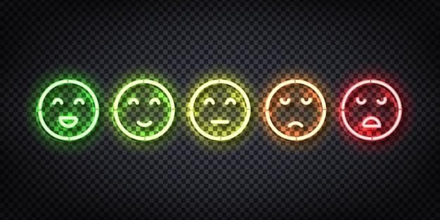 Set di segno al neon realistico di facce di valutazione