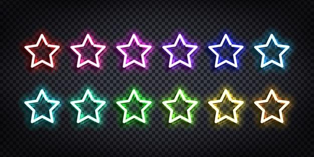 Set di insegne al neon realistiche del logo star con colori diversi per la decorazione del modello e la copertura sullo sfondo trasparente.