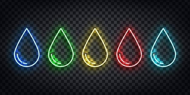 Set di segno al neon realistico del logo goccia di acqua, veleno, olio e sangue per la decorazione del modello sullo sfondo trasparente.