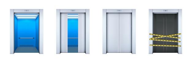 Set di ascensori ufficio realistico isolato su bianco