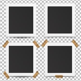 Set di cornici per foto vecchie realistiche su sfondo trasparente.