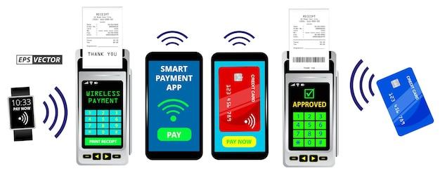 Set di terminali per macchine di pagamento realistici isolati o pos per carta di credito con ricevuta o punto di pagamento