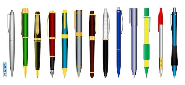 Set di penne realistiche isolate o varie penne stilografiche e penne meccaniche a molla o da ufficio