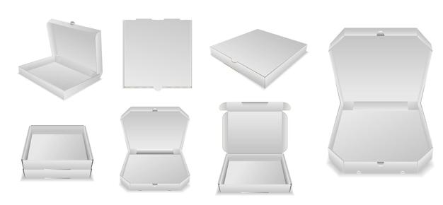 Set di cartone realistico per scatola di pizza o modello di scatola per pizza vuota mock up