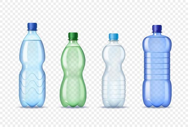 Set di bottiglie di plastica realistiche con acqua.