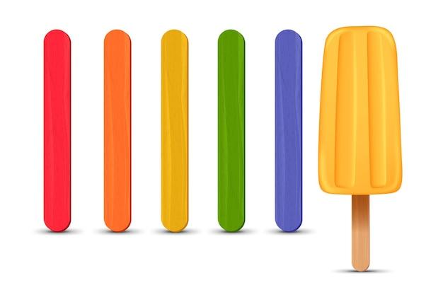 Set di bastoncini di ghiacciolo realistico gelato alla banana d illustrazione vettoriale stagione estiva