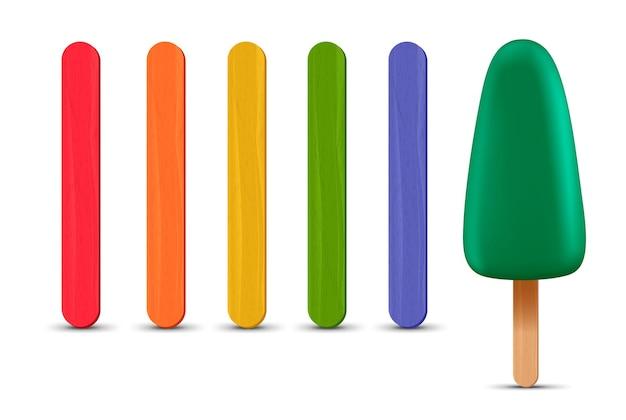 Set di bastoncini per ghiaccioli realistici. gelato verde 3d. illustrazione vettoriale, stagione estiva.