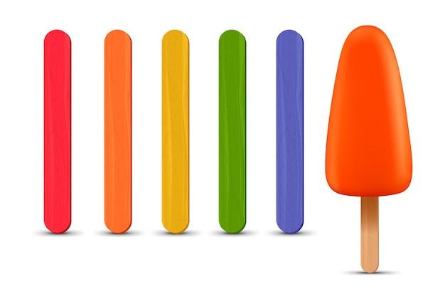 Set di bastoncini di ghiacciolo realistico gelato all'arancia d illustrazione vettoriale stagione estiva