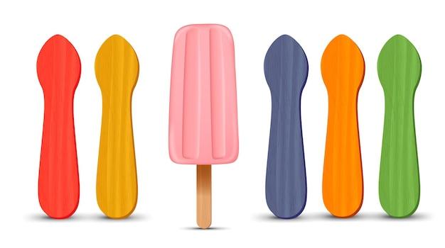 Set di bastoncini di ghiacciolo realistico gelato alla fragola rosa d illustrazione vettoriale stagione estiva