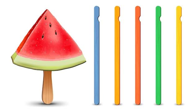 Set di bastoncini di ghiacciolo realistici pezzo di anguria su illustrazione vettoriale di bastoncino di ghiacciolo stagione estiva