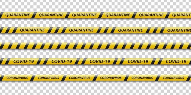 Set di nastro di avvertenza di quarantena realistico con strisce gialle e nere per la decorazione su sfondo trasparente. concetto di precauzione pandemica.