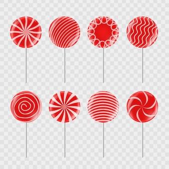 Set di caramelle rosse realistiche su sfondo trasparente per decorazione e copertura.