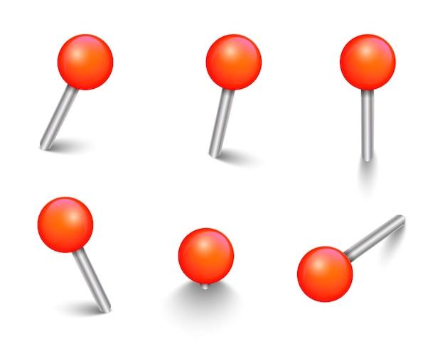 Set di puntine rosse realistiche puntine da disegno vettoriali 3d segnano puntine per carta per adesivi