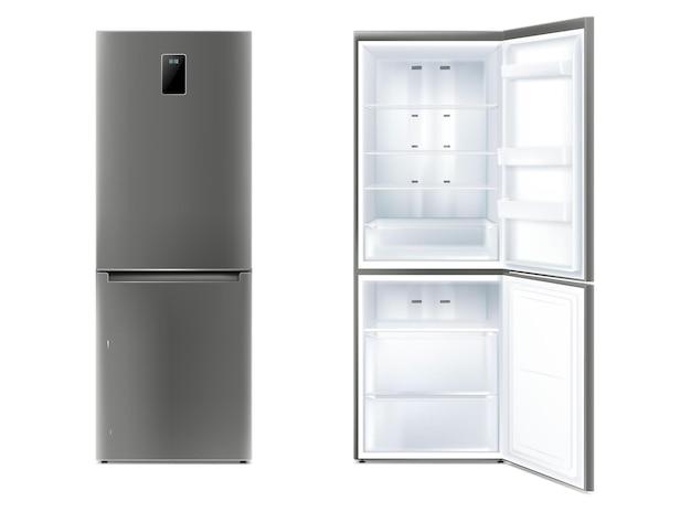 Set di frigorifero realistico con illustrazione vettoriale porta aperta e chiusa. frigorifero elettronico con display temperatura di raffreddamento e ripiani per stoccaggio prodotti isolati. congelatore domestico per la casa