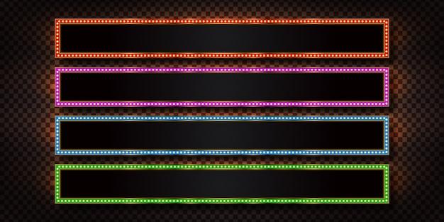 Set di cartelloni pubblicitari realistici retrò con lampade a luce elettrica per invito sullo sfondo trasparente. concetto di decorazione vintage.